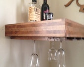 Floating shelf,  wine glass holder , wine  storage, liquor shelf,