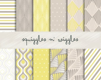 """Art Deco Patterns:  """"The Yellows"""" Digital Papers suitable for scrapbooking, cards and more!"""