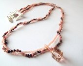 Pink Gemstone Rhodonite, seed beads and swarovski pendant necklace, blend of peach, cream , pink and brown colors