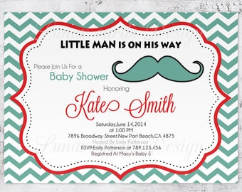 Little Man Baby shower,Invitation boy,Mustache Boy Shower, Mustache Baby Shower Invitation,Boy Baby Shower,digital (Item BS53)