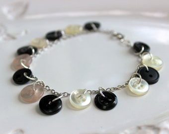 Cute As A Button Bracelet - Black and White