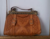 SALE SALE SALE tan leather vintage handbag very unique handcrafted bag vintage ladies bag super quality leather