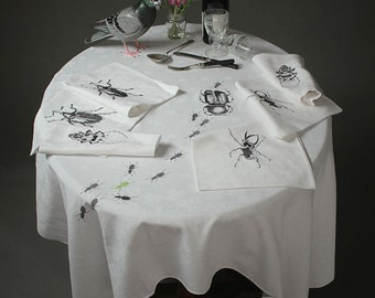 Embroidered damask tablecloth set with 6 white cloth dinner napkins upcycled with embroidered beetles in dark grey, OOAK