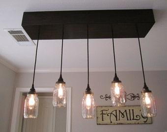 Mason Jar Chandelier- Lighting - Mason Jar Lighting- Ceiling Light, Rustic Lighting, Mason Jar Light, Farmhouse