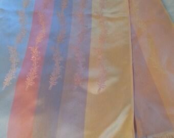 Vintage Woven Rayon Satin Jacquard Damask Scarf Pastel Stripe