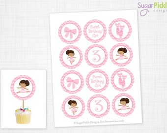 Ballet Cupcake Toppers, 3rd Birthday, Ballet Birthday Toppers, Ballet Toppers, Ballet Party Decorations - 2.25 inch