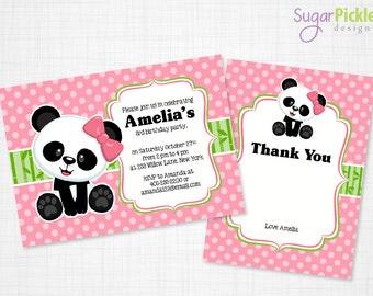 Panda Invitation, Panda Party Invitation, Panda Party Invite, Panda Birthday Invitation, Birthday Invitation, Panda Theme Birthday