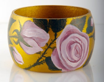 hand painted PINK ROSE wooden bracelet