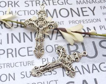 10 pcs of Antique Silver Jesus Cross Crucifix Charms 33X56mm