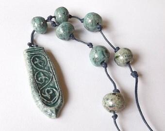 Ceramic Raku Necklace, OOAK necklace - ceramic jewelry