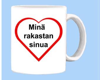 Finnish I LOVE YOU mug