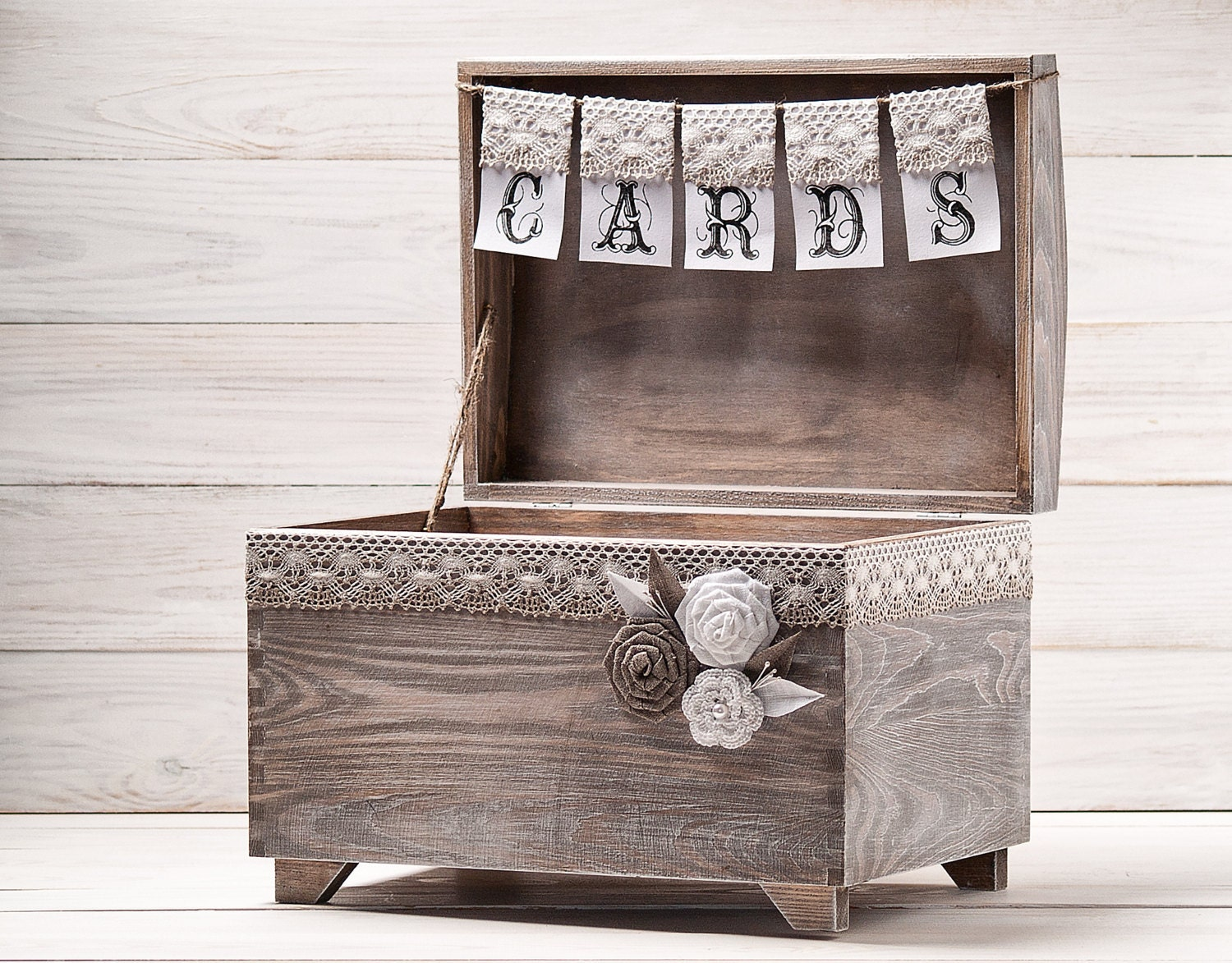 Wedding Card Box Rustic Card Holder with Burlap and Lace Cards
