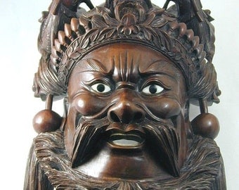 Carved Chinese Mask Character From Romance of the Three Kingdoms 1589.1 Grams