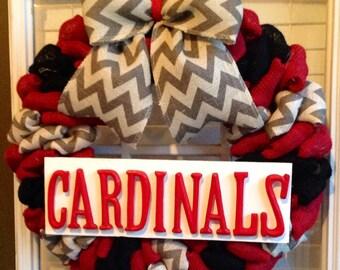 Burlap Wreath - Summer Wreaths for Door - Door Wreath - Front Door Wreath - Cardinals Wreath - Cardinals Decor