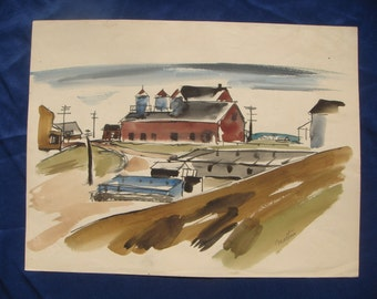 1930s Charles James Martin CAPE COD? FACTORY - Watercolor Painting - Modernism