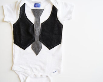 READY to SHIP 0-3 month Baby Boy Shower Gift Outfit Black Vest and Gray Tie Outfit . Busy Man