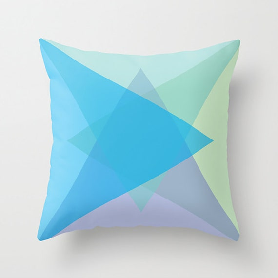Items similar to Throw Pillow Cover - Geometric - Lavender, Light Green, Mint, Ocean Blue on Etsy