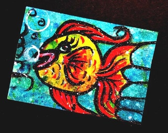 ACEO Card original painting Fish aceo Underwater Series 1 Limited Edition 1 of 6 Christian Art cast FREE SHIPPING artbyevelynmarie