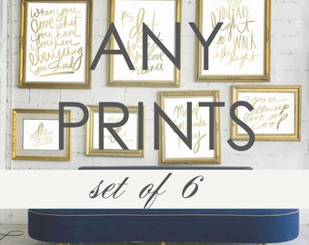 Typography Gallery Wall Art-Customize Any Set of 6 Prints- Discounted Price for Set- Print Sale Dorm and Office Decor