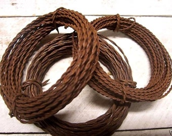 3 rolls of 20 & 22 gauge Rusty Twisted Wire ... each roll is 15 feet long ( 45 feet total ) ...primitive crafts