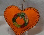 Decorative Felt Heart - Autumn Wreath