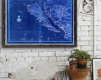 "Map of California as Island 1650, Historical California map, 5 sizes up to 54x36"" California poster also in blue - Limited Edition of 100"