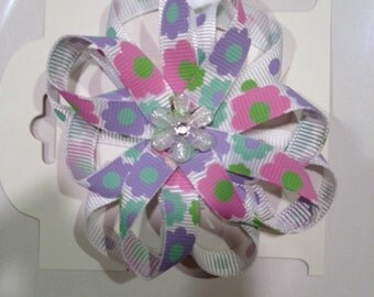 Pink and Purple Spring Flower Hair Clip