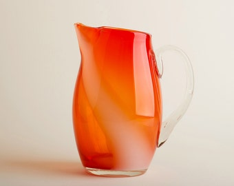 Vintage Mid Century orange red glass pitcher / Vintage kitchenware / Glass