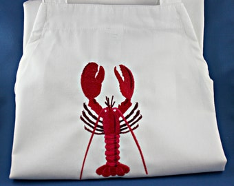 Lobster Apron Embroidered with Pockets