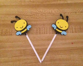 Set of 12 Bee Cupcake Toppers