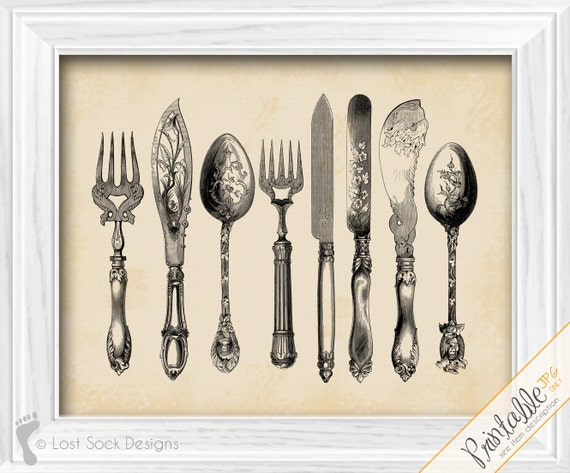 Kitchen Decor Silverware Flatware Cutlery Dining Room Wall Art