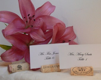 125+ Wine Cork Place Card Holders made from Recycled Wine Corks - all Natural, no Synthetic or Champagne