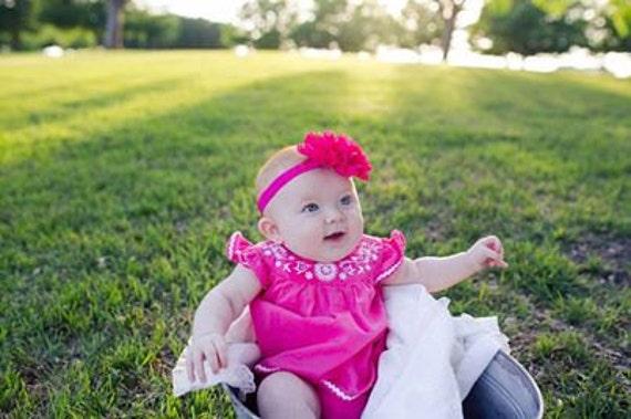 Hot Pink Frayed Lace Chiffon flower Baby Headband, Newborn Headband,  Infant Headband,Baby Headband, Headband Baby, Baby Headband