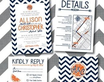 Printable Orange Wedding Invitations Package
