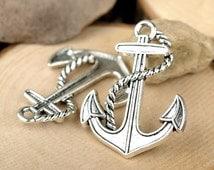 5 Anchor pendants,Special,large,3D,40 x 30mm antique silver tone