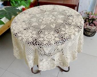 Lovely Crochet pattern round table topper, 100% handmade table cover, crochet tablecloth for home decor