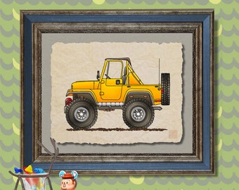 4 Wheel car art cute convertible jeep Whimsical vehicle print adds to kids room man cave transportation art as 8x10 or 13x19 auto art