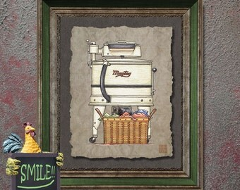 Nostalgic laundry art Wringer washer adds vintage washing machine art to laundry room as 8x10 or 13x19 whimsical wall décor