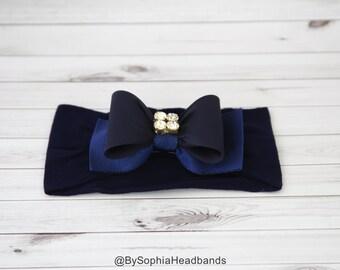 Navy Blue Bow Headband, Baby Bow Headband, Newborn Headband, Navy Blue Baby Headband, Photo Prop, Headband, Blue Headband,Bow Headband, 715