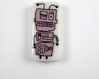 Peacebot # 81  Handpainted Robot   Robot Gear  Robot Jewelry  Robot Charm Robot Key Chain