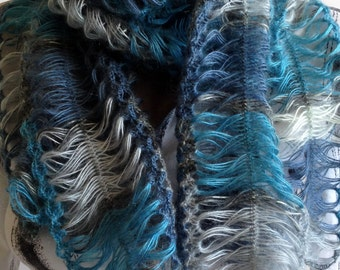 Hairpin Loom Scarf / Beautiful scarf/ Crochet Dark Blue Scarf/ Crochet Lace Scarf/ Hairpin Crochet Scarf/ Lace Scarf/ Lace Crochet Scarf