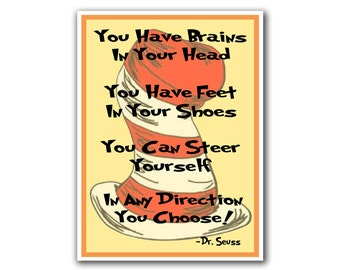 Dr. Seuss Art Nursery Decor Poster Any Direction Quote Print (S11)