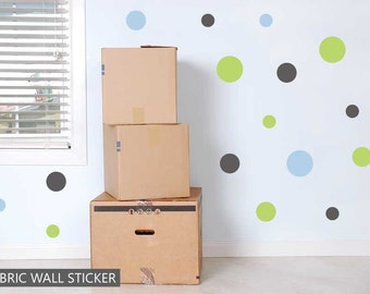 Polka Dot Spots Green Grey Blue Fabric Wall Sticker Decals Reusable Set of 19 Circles Boys Bedroom