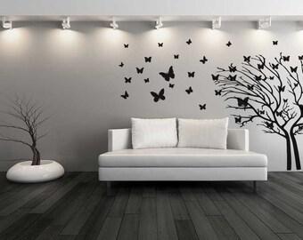 Butterfly Tree Wall Decal Sticker Home Beautiful Pretty Branch Romantic Bedroom Mural Vinyl Sticker