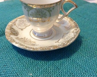 Small, Vintage / Antique Pedestal Teacup & Saucer