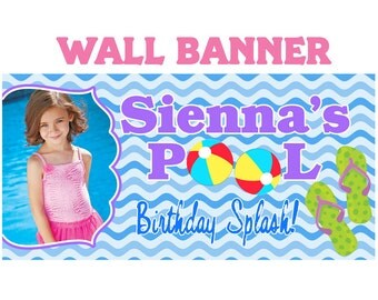 Birthday Splash Photo Banner ~ Personalized Party Banners Pool Party ~ Swimming Party Banner, Summer Birthday Banner, Custom Banner