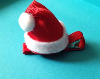 Santa Claus Hat clip, Ribbon Sculpture Holiday hairbow, Hair accessory, photo prop, Toddler clip, St Nick, Christmas Red White hair clip