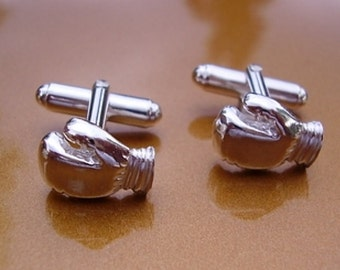 One Pair Sterling Silver Boxing Gloves Cufflinks
