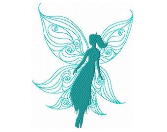 Fairy Silhouette10  Fill Machine Embroidery DESIGN NO. 117