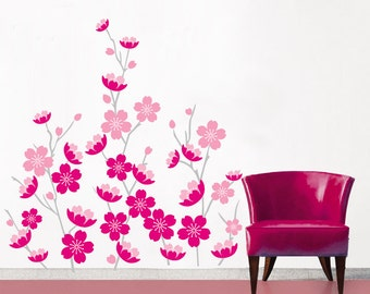 Cherry blossom wall sticker,Nursery Pink Flower Wall Decal,Vinyl removable Floral wall decal,girls room wall art sticker,Bedroom decor -7089